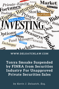 Tonya Smoake Suspended by FINRA from Securities Industry For Unapproved Private Securities Sales (1)